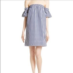 Milly Gingham Off the Shoulder Shift Dress Size S